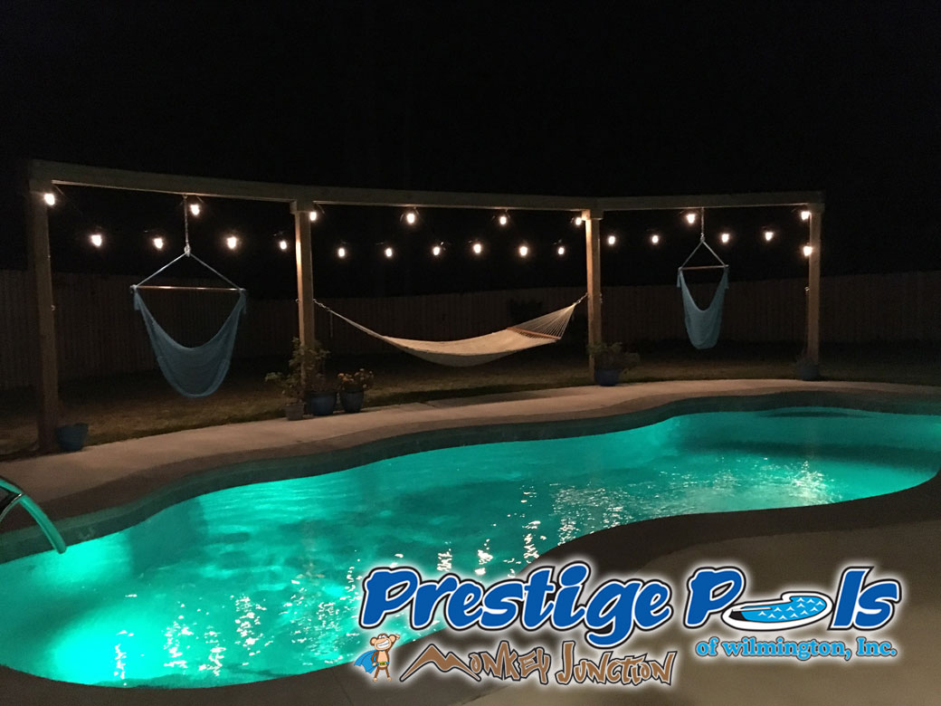 ... Prestige Pools Of Wilmington, NC Pool With Custom Lighting And Outdoor  Space ...